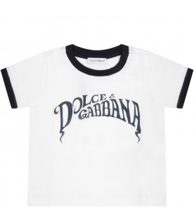 White t-shirt for babyboy with logo