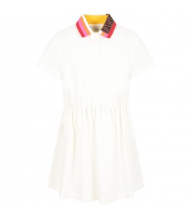 White dress for girl with double FF
