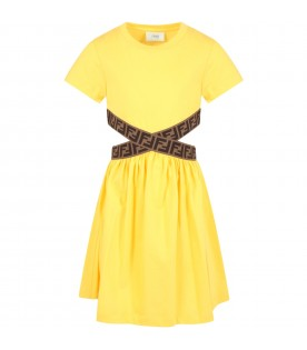 Yellow dress for girl with double FF