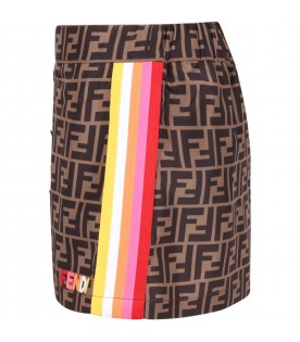 Brown skirt for girl with double FF