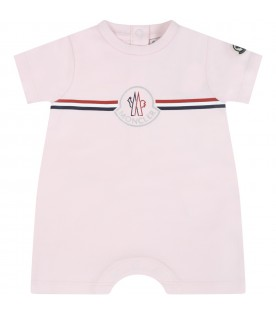 Pink romper for babygirl with logo