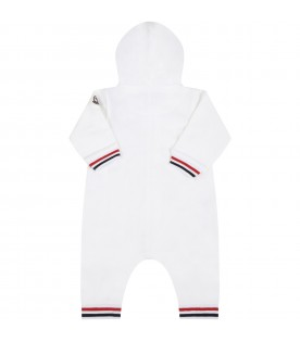 White romper for babyboy with logo