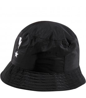 Black cloche for boy with thunder