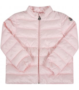 "Pink ""Joelle"" jacket for babygirl with logo"