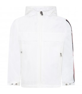 "White ""Vaug"" jacket for kids with logo"