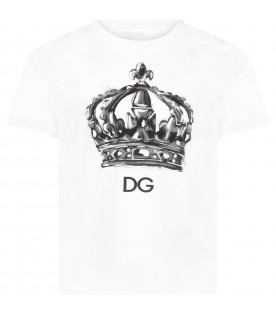 White t-shirt for boy with crown