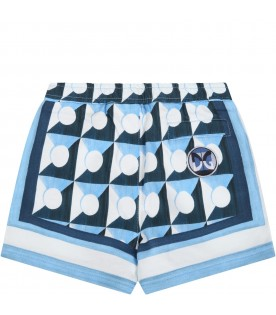 Light blue short for babyboy with prints