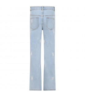 Light blue jeans for girl with logos