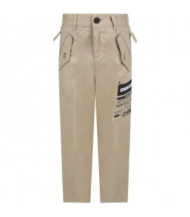 Beige trouser for boy with logo