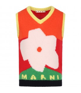 Multicolor vest for girl with flower