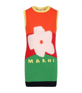 Multicolor dress for girl with flower