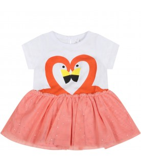 Multicolor dress for babygirl with flamingos
