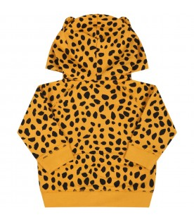 Orange sweatshirt for babykids with cheetah