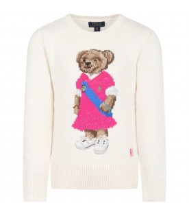Ivory sweater for girl with bear