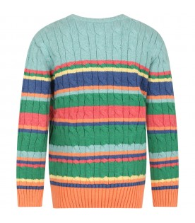 Multicolor sweater for kids with pony logo