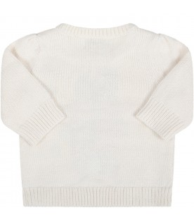 Ivory sweater for babygirl with bear
