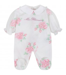 White babygrow for babygirl with roses