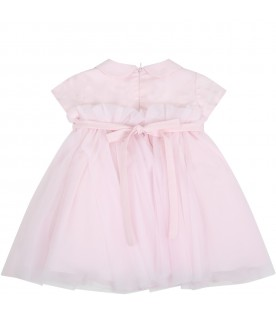 Pink dress for babygirl with logo