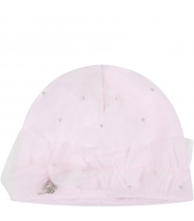 Pink hat for babygirl with bow