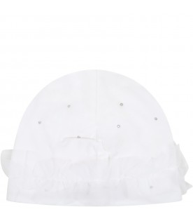 White hat for babygirl with bow