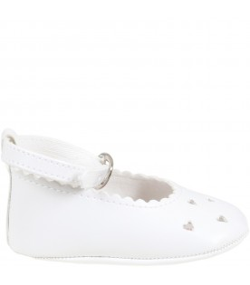 White ballerinas for babygirl with heats