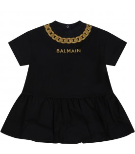 Black dress for babygirl with logo