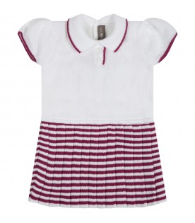 White dress for babygirl with stripes
