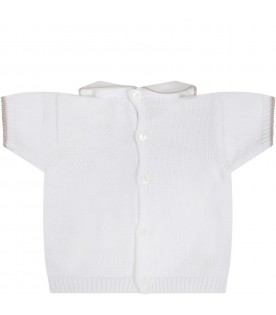 White t-shirt for babyboy with polka-dots
