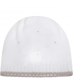 White hat for babykids with polka-dots