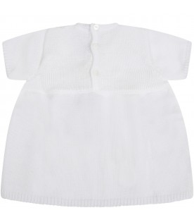 White dress for babygirl with polka-dots
