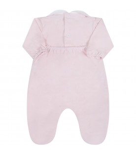 Pink babygrow for babygirl with bows