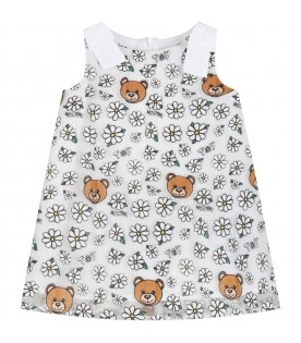 White dress for babygirl with teddy bears