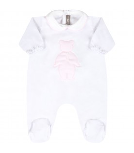 White babygrow for babygirl with bear