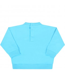 Azure sweatshirt for babyboy with teddy bear