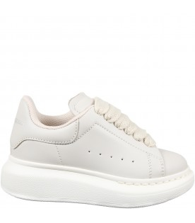 Ivory sneakers for kids with logo