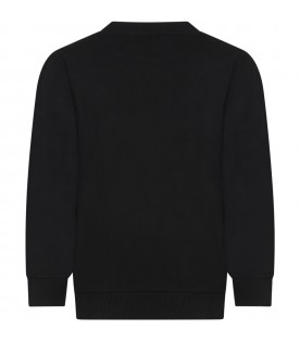 Black sweatshirt for kids with double logo