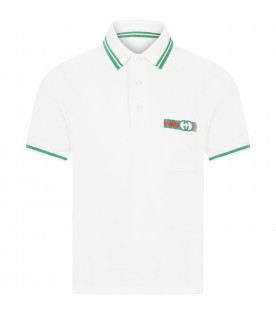 White polo short for boy with double GG