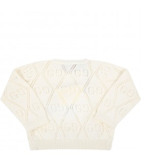 Ivory cardigan for babygirl with double GG