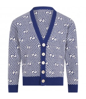 Multicolor cardigan for boy with double GG