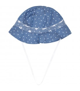 Denim sun hat for babygirl with stars