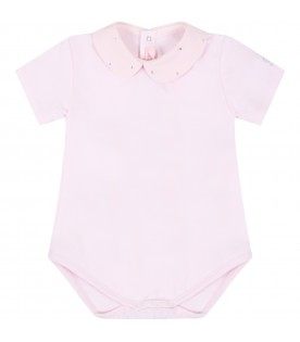 Pink body for babygril with rhinestones