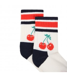 Ivory socks for girl with cherry