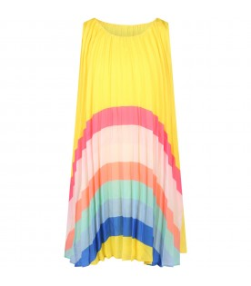 Yellow dress for girl with rainbow