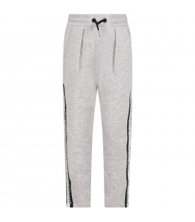 Gray sweatpants for boy with logo