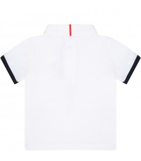 White polo shirt for babyboy with logo