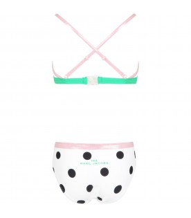 White bikini for girl with polka-dots
