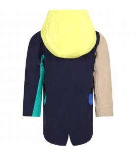 Multicolor parka jacket for boy with logo