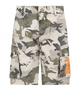 Green short for boy with logo