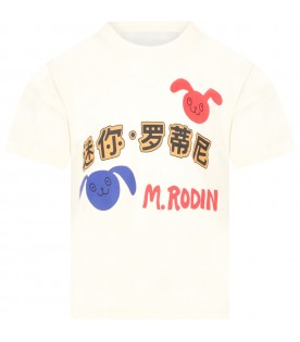 Ivory t-shirt for kids with rabbits