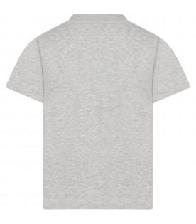 Grey t-shirt for kids with cat and panda